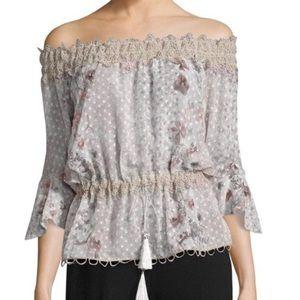 Elie Tahari Zoia Floral Lace Off Shoulder Blouse